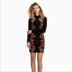 H&M divided velvet floral dress sz 2